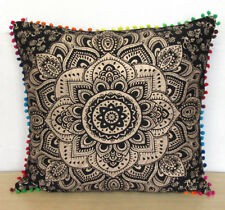 """24X24"""" Black Gold Sofa Square Cushion Pillow Cover Indian Room Decorative Throw"""
