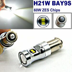 2x H21W BAY9s 433D Car Parking Light ZES LED White 60W Backup Reverse Light bulb