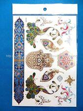*US SELLER*peacock hamsa feather metallic gold flash temporary tattoos