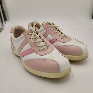 Women's ECCO Hybrid Spikeless Golf Shoes White and Pink leather Sz 37 US 6.5