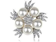 Faux Pearl Clear Crystal Rhinestone Bridal Floral Costume Silver Tone Pin Brooch