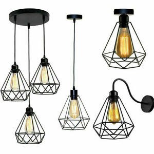 Industrial Wire Cage Style Retro Ceiling Pendant Light/Lamp Shade Metal Easy Fit
