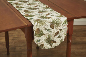 Walk in The Woods Scalloped Pine Cone Cotton Rustic Country Table Runner