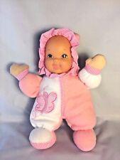 """Goldberger CUDDLEKINS Doll Pink Fleece Vinyl Face Butterfly Gingham 11"""" Plush"""