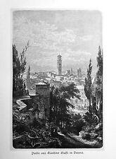 1890 ITALIEN VON WOLDEMAR KADEN=Veduta.Xilog.VERONA VISTA DAL GIARDINO GIUSTI.