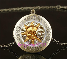 SUN AND MOON Cabochon Glass Brass Locket Pendant Necklace#A19