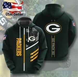 Green Bay Packers Long Sleeve Pullover Hoodies NFL Football Jersey Shirt