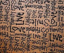 Primitive Tissue Paper # 215 ....... Love, Friends, Simply, on Kraft Tan
