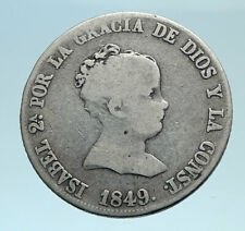 1849 SPAIN Queen ISABELLA II Antique Genuine Silver 4 Reales Spanish Coin i78308
