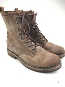 Womens Frye Veronica Combat Boots Choclate Dostressed Suede Sz 6