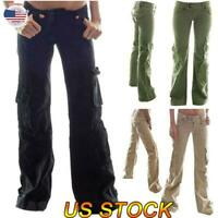 US Womens Ladies Casual Loose Pants Combat Cargo Trousers Wide Leg Bottoms Comfy