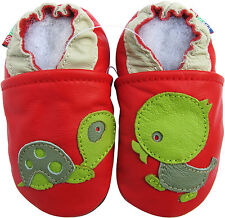 carozoo turtle duck red 12-18m soft sole leather baby shoes
