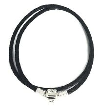 Authentic Pandora bracelet, Silver clasp and black braided leather