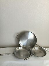 """Philippe Richard Professional 11.5"""" 10"""" 8.5"""" Fry Pan Skillets 18/10 Stainless"""