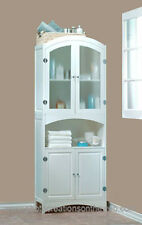 NEW LOVELY WHITE WOOD LINEN CABINET-BATHROOM STORAGE & CLASSIC DECOR FURNITURE
