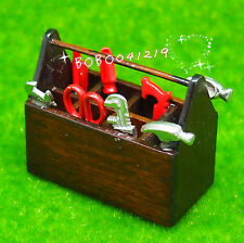 Dollhouse Miniature Metal Garden Outdoor tools in wooden box RX1552