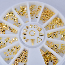 Gold Rivets Triangle 3D Decal Nail Art Tips Stamping Manicure Stickers Decor DIY