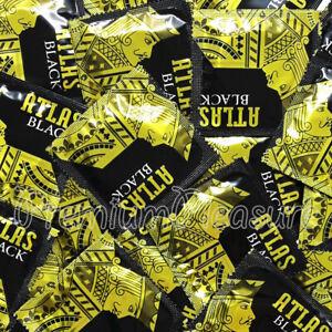 Atlas Negro Condones Premium Látex Negro Color Con Silicone-Based Lubricante