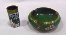 CLOISONNE BRASS TOOTHPICK HOLDER AND ASHTRAY