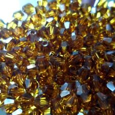 25 Perles Cristal -TOUPIES SWAROVSKI - SMOKED TOPAZ - 4mm