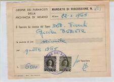 142445 VECCHIO DOCUMENTO ORDINE DEI FARMACISTI DELLA PROVINCIA DI MILANO 1965