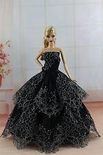 Black Fashion Princess Dress Wedding Clothes/Gown For Barbie Doll SU289
