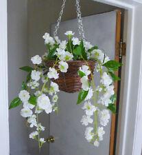 Artificial Flower White Sakura Vine Bush Basket Hanging