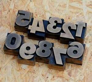 0-9 Zahlen 32 mm Plakatlettern letterpress Letter Ziffern Stempel Zahl numbers