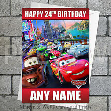 Cars birthday card. 5x7 inches. Personalised, plus envelope.
