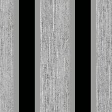 STRIPE WALLPAPER BLACK & SILVER DIRECT WALLPAPERS E87519 - FEATURE WALL NEW