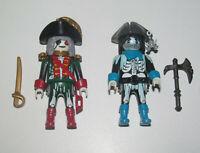 Playmobil Figurine Personnage Lot Pirate Capitaine Fantôme + Soldat & Accessoire