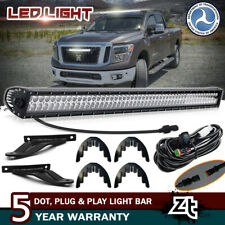 "For 2004-2015 Nissan Titan 50"" Straight LED Light Bar+Upper Roof Mount Brackets"
