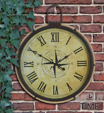 Metal Compass Garden Clock Nautical Rope 50cm Outdoor Vintage Round Numerals