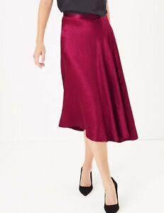 M&S Satin Asymmetric Slip Skirt 10/12/14/20/22/24 Reg/Long