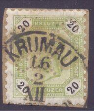 1.87.AUSTRIA,BOHEMIA,20KR.KRUMAU POSTMARK,PERFIN ON PIECE.