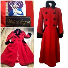 VINTAGE YESSICA WOOL BLEND GOTHIC COAT VICTORIAN / EDWARDIAN STYLE 12 14 RED