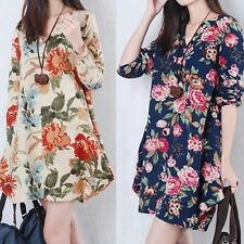 Retro Floral Cozy Linen Long Sleeve V-Neck Loose Dress For Pregnant Women Dress