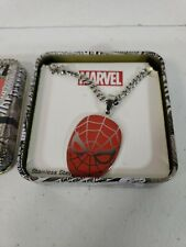 Marvel Comics Spider-Man Face Mask Stainless Steel Necklace Pendant New NOS Box