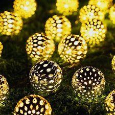 20 LED Solar Lichterkette Aluminium Lampion Metallkugel Weinachtsbaum Lichter