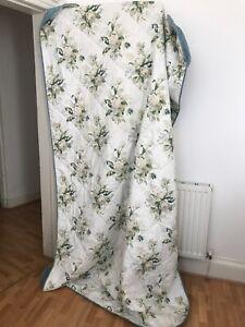 Laura Ashley Vintage single floral duck egg blue cream bedspread throw