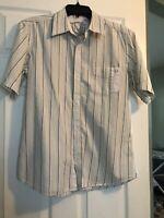 RedSand Men's Short Sleeve Shirt Green White Stripes Medium