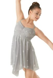 BALERA SHIMMERY GLITTER SILVER/GREY LYRICAL DRESS WITH ATTACHED LEOTARD - MA