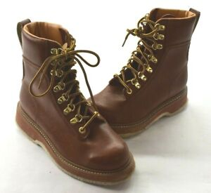 Cabelas Mens Brown Lace Up Steel Toe High Ankle Work Boots Wading Shoes 10
