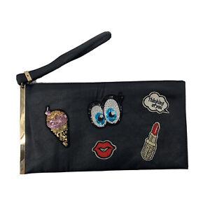 Cartoon Sequin Patch Black Wristlet Clutch Bag Glitter Fun Small Lipstick Face