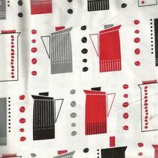 Metro Cafe red black retro blenders kitchen Kaufman fabric