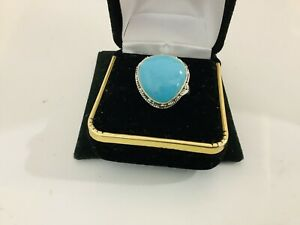 Sleeping Beauty Turquoise Sterling Silver  Gemstone Statement Ring Size 8