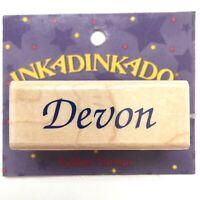 DEVON Inkadinkado Name Personalized Calligraphy Rubber Stamp Wood Mounted 7365