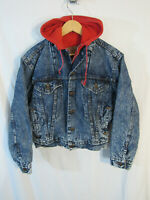 80s VTG USA Levi's Youth Hoodie Lined Acid Wash Trucker Jacket 57526-1109 Size L