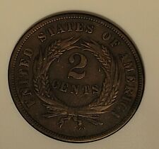 1864 2 cent piece large motto anacs xf40