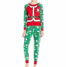Hello Kitty Women's Ugly Holiday Pajama Set Union Suit Forest Green Size Medium